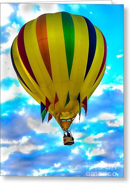 Yellow Striped Hot Air Balloon Greeting Card by Robert Bales
