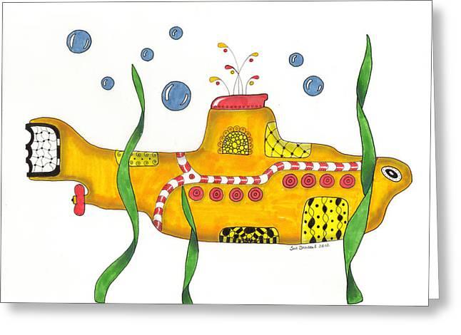 Yellow Submarine Greeting Card by Sue Brassel