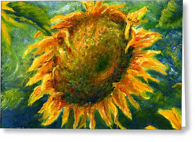 Yellow Sunflower Art In Blue And Green Greeting Card