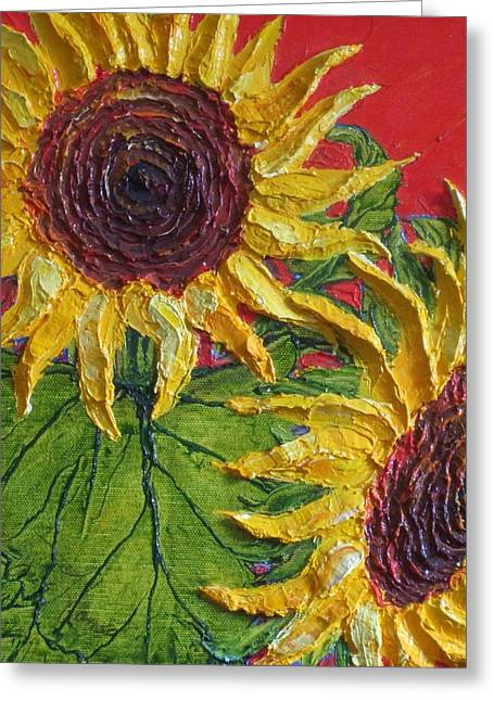 Yellow Sunflowers On Red Greeting Card by Paris Wyatt Llanso
