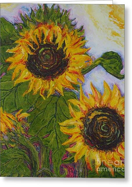Yellow Sunflowers Greeting Card by Paris Wyatt Llanso