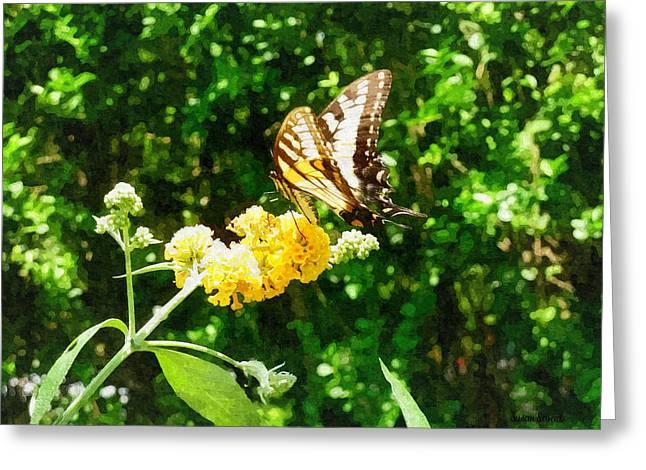 Yellow Swallowtail On Yellow Lantana Greeting Card by Susan Savad