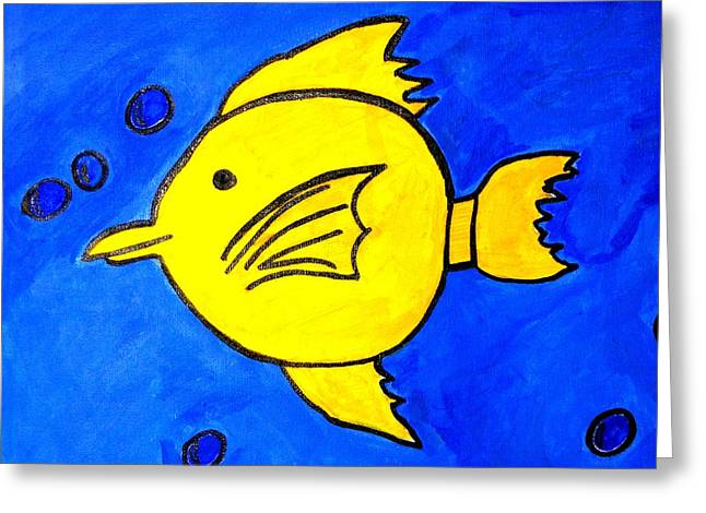 Greeting Card featuring the painting Yellow Tang by Fred Hanna