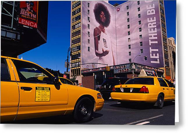 Yellow Taxies At The Road Intersection Greeting Card by Panoramic Images