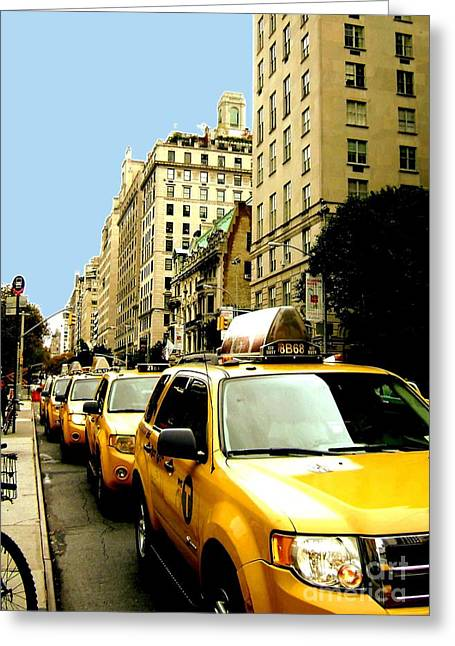 Yellow Taxis Greeting Card by Claudette Bujold-Poirier