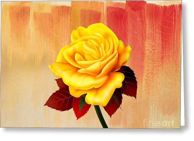 Yellow Tea Rose Greeting Card by Bedros Awak