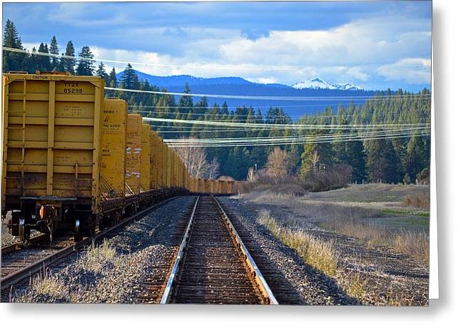 Yellow Train To The Mountains Greeting Card
