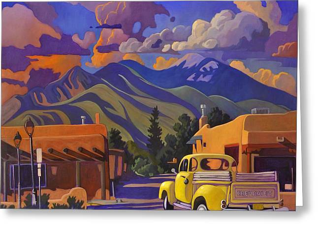 A Yellow Truck In Taos Greeting Card