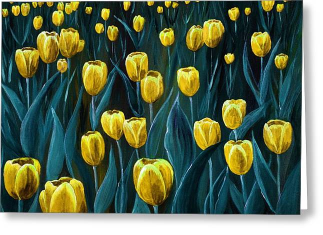 Yellow Tulip Field Greeting Card by Anastasiya Malakhova
