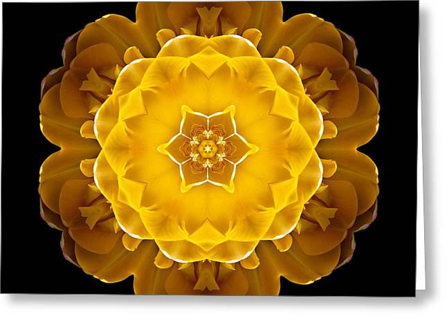 Yellow Tulip II Flower Mandala Greeting Card