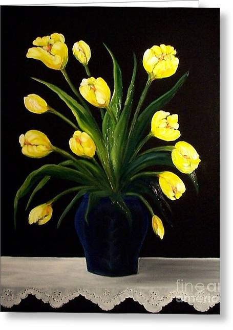 Yellow Tulips And White Eyelet Greeting Card by Peggy Miller