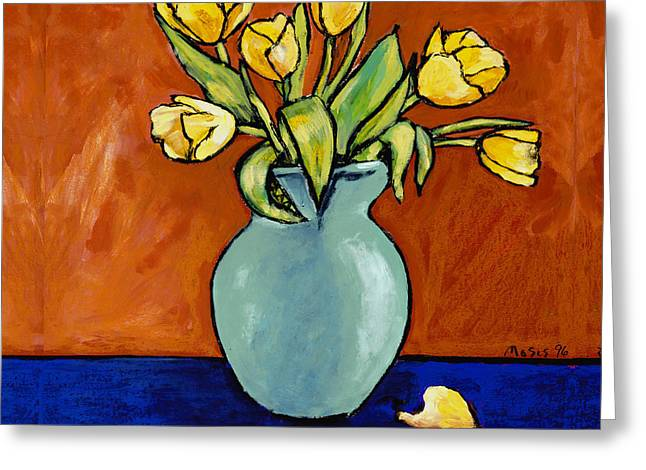 Yellow Tulips In A Turquoise Vase Greeting Card