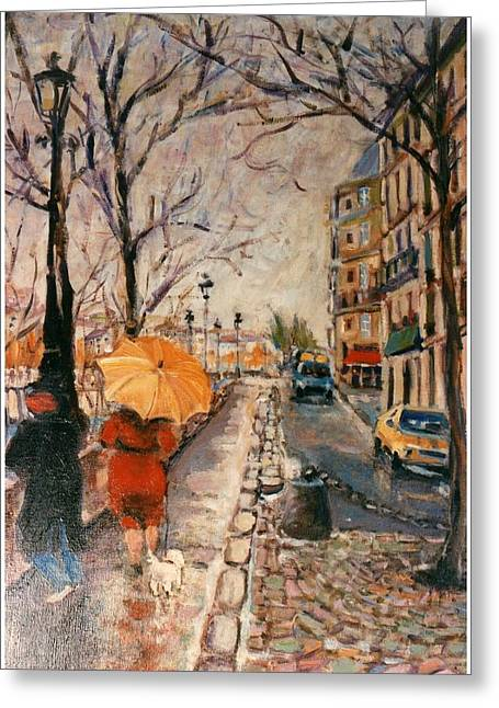 Greeting Card featuring the painting Yellow Umbrella by Walter Casaravilla