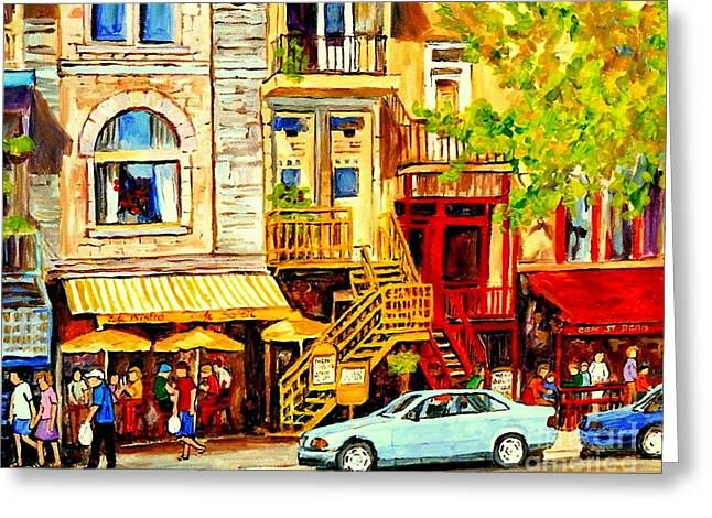 Yellow Umbrellas On Rue St Denis Cafe Paintings Montreal Summer City Scenes Cafe Soleil Bistro  Greeting Card by Carole Spandau