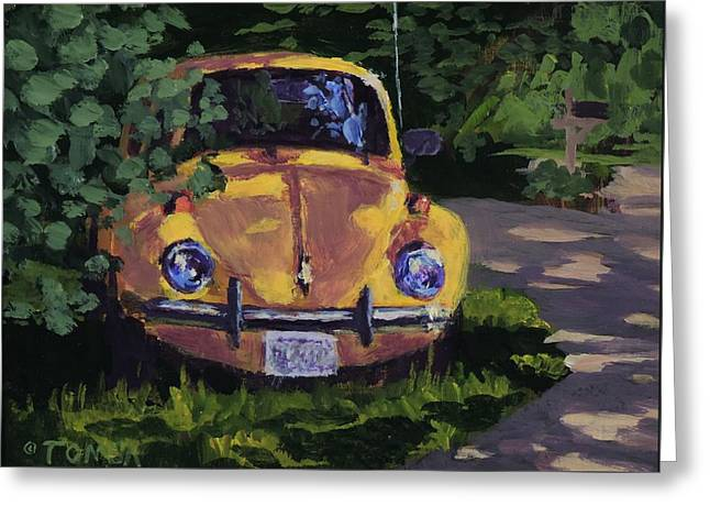 Yellow Vee Dub - Art By Bill Tomsa Greeting Card