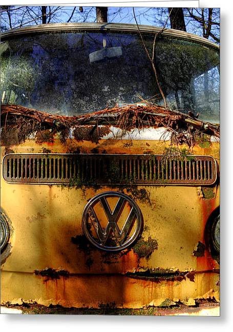 Yellow Vw Greeting Card by Greg Mimbs