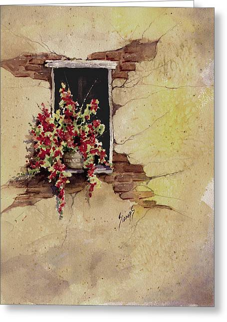 Yellow Wall With Red Flowers Greeting Card by Sam Sidders