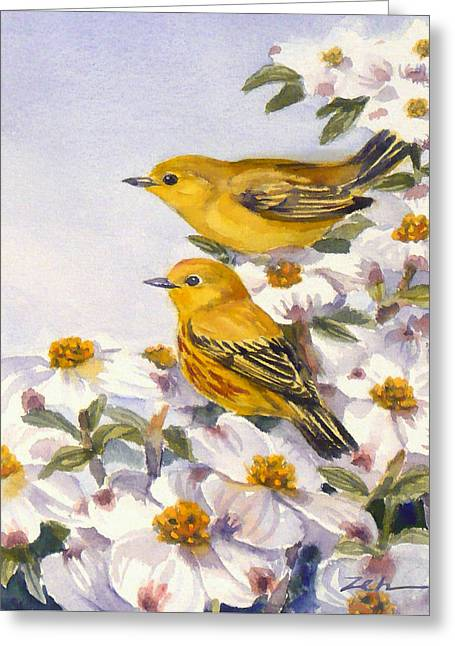 Yellow Warblers Greeting Card