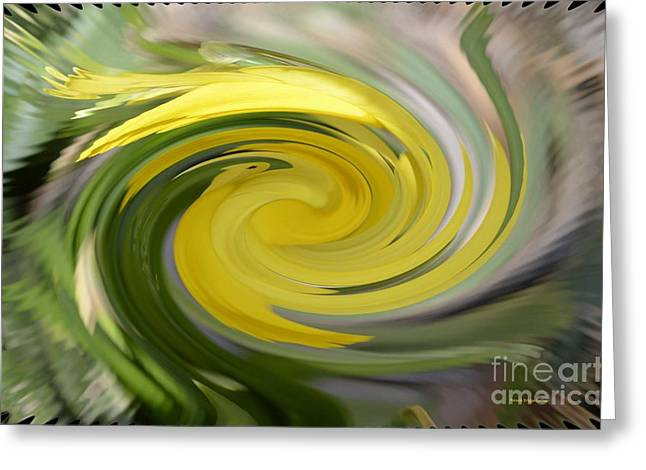 Greeting Card featuring the digital art Yellow Whirlpool by Luther Fine Art