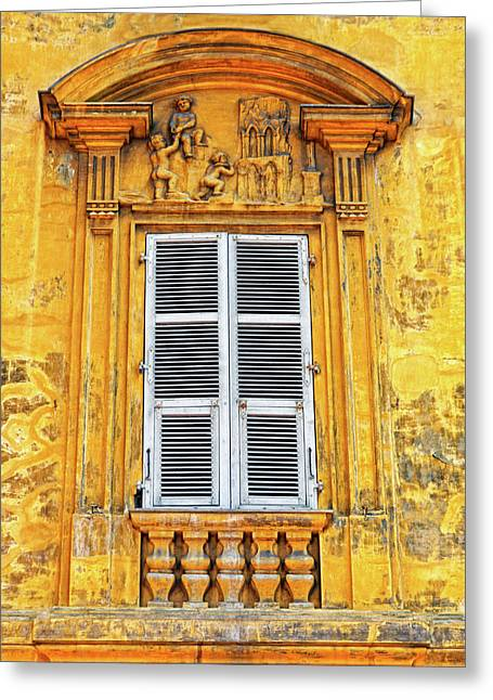 Greeting Card featuring the photograph Yellow Window Nice France by Dave Mills