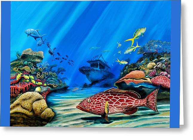 Yellowfin Grouper Wreck Greeting Card