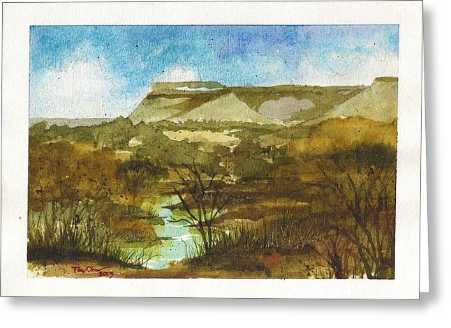 Yellowhouse Canyon Greeting Card by Tim Oliver