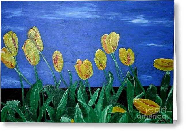Yellowred Tulips Greeting Card by Susanne Baumann