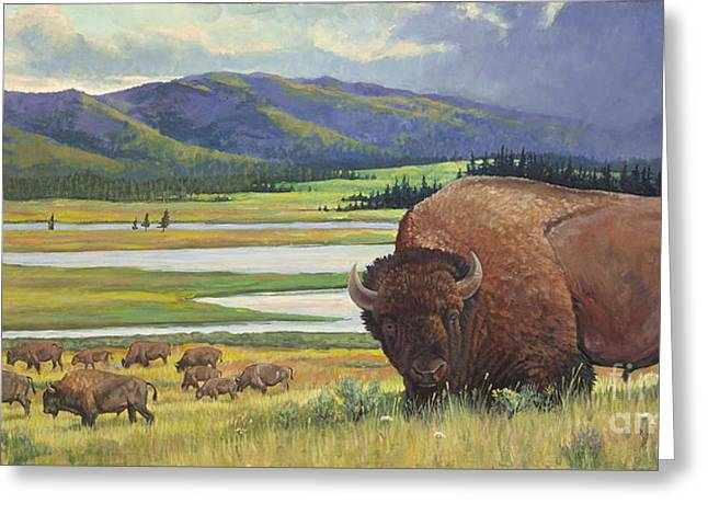 Greeting Card featuring the painting Yellowstone Bison by Rob Corsetti