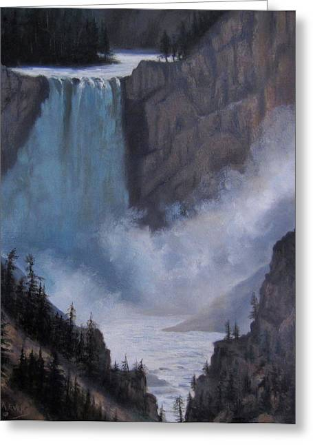 Yellowstone Falls Evening Greeting Card by Mar Evers