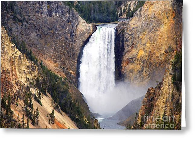 Yellowstone Falls Greeting Card by Robert Kleppin
