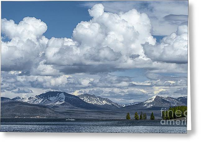 Yellowstone Lake Cloudscape Greeting Card by Sandra Bronstein