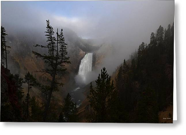 Yellowstone - Lower Falls At Sunrise Greeting Card