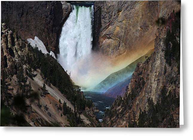 Yellowstone Lower Falls Rainbow Greeting Card