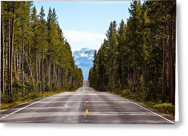 Yellowstone Open Road Greeting Card by Adam Pender