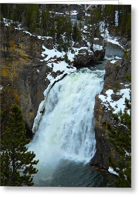 Yellowstone Upper Falls In Spring Greeting Card
