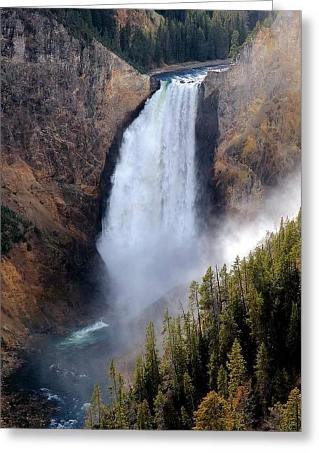 Lower Yellowstone Falls Greeting Card by Athena Mckinzie