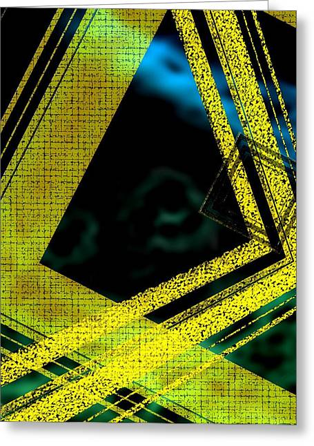 Yelow And Blue Digital Art Greeting Card by Mario Perez