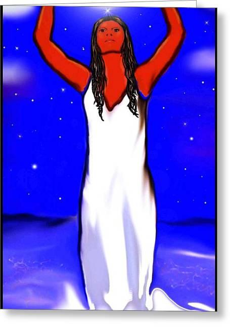 Yemaya Is Coming Greeting Card by Carmen Cordova