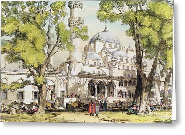 Yeni Jami Constantinople Greeting Card by John Frederick Lewis
