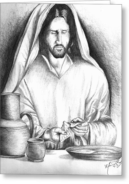 Yeshua Breaking Bread Greeting Card by Marvin Barham