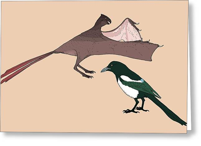 Yi Qi Dinosaur Size Comparison Greeting Card by Nemo Ramjet