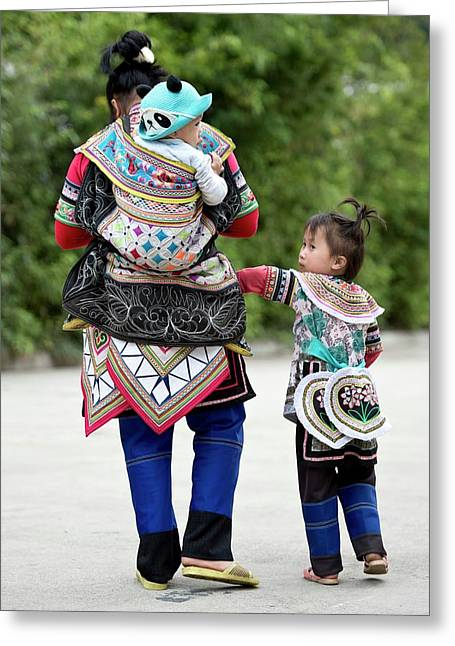Yi Woman With Children Greeting Card