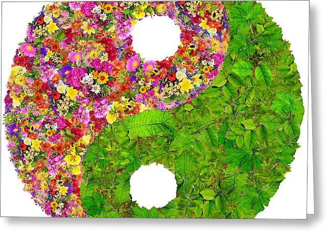 Yin And Yang Floral Isolated Symbol  Greeting Card