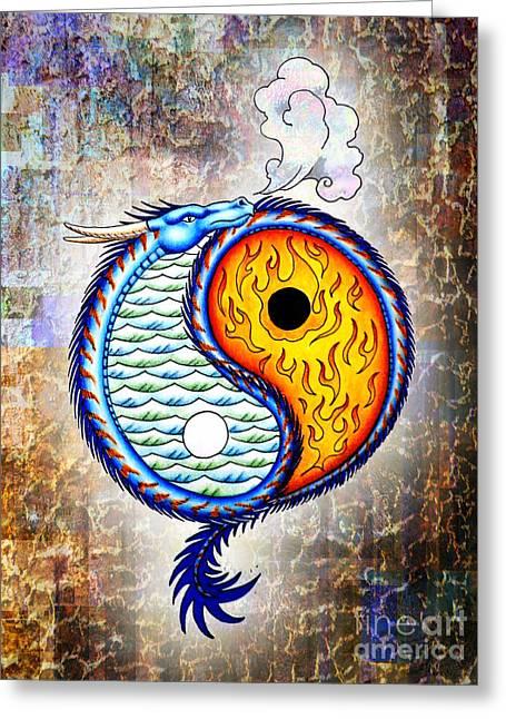 Yin And Yang Textured Greeting Card by Robert Ball