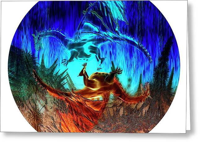 Yin Yang Dragons Greeting Card by Carol & Mike Werner