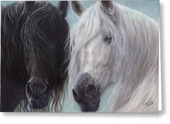 Yin-yang Horses  Greeting Card by Wayne Pruse
