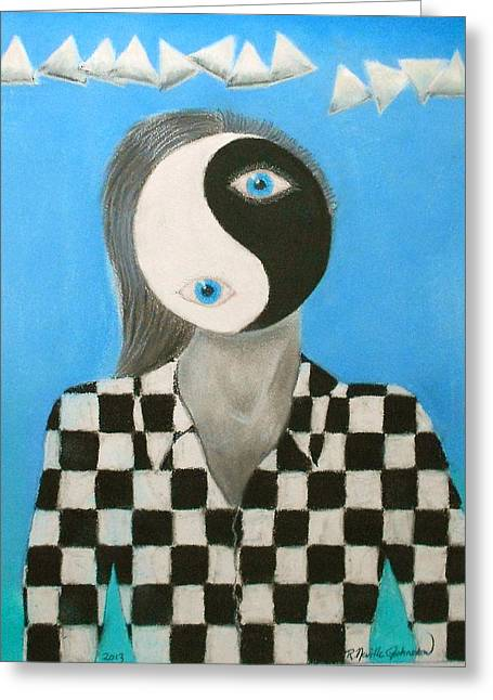 Yin Yang Man Greeting Card by R Neville Johnston