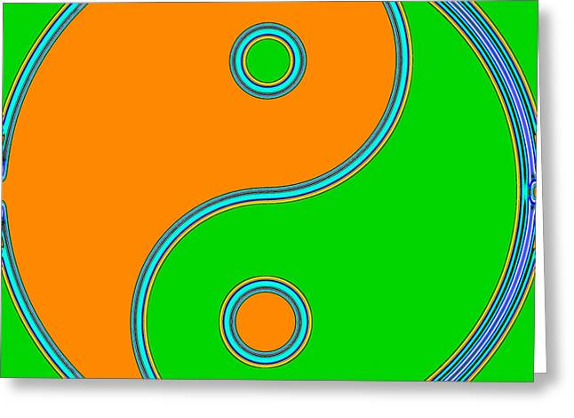 Yin Yang Orange Green Pop Art Greeting Card