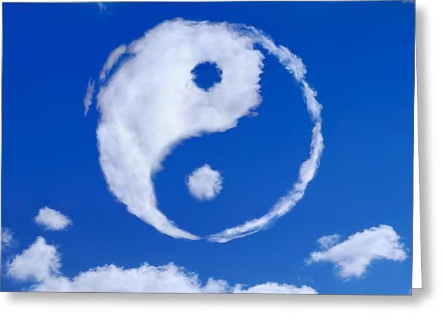 Yin-yang Symbol Made Of Clouds Greeting Card by Oleksiy Maksymenko