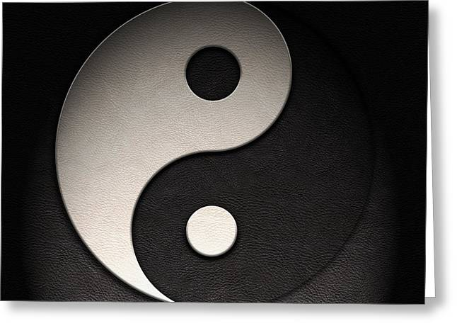 Greeting Card featuring the digital art Yin Yang Symbol Leather Texture by Brian Carson